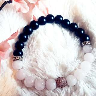 Rose Quartz & Lava Beaded Bracelet
