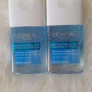 Loreal eyes and lips make up removal x2