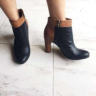 Sam edelman black and brown leather booties