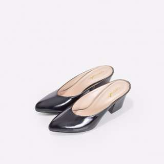 NEW Christy Ng - Julia Black Patent Slip in Mules