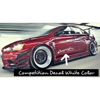 Competition Decal For Mitsubishi Car (White Color Decal)