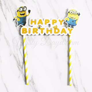 Minion Happy Birthday Yellow Striped Straw Party Wedding Cake Topper
