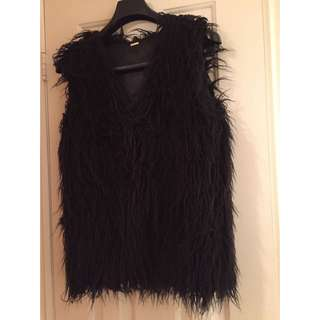 Black Aldo Faux Fur Vest