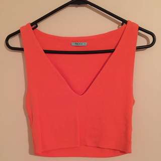 Fluro Orange Kookai Crop Top