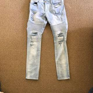 Distressed Light Denim Jeans