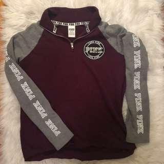 PINK Maroon Quarter-zip Sweater