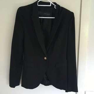 Black Blazer With Gold Button ZARA