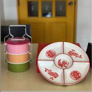 2 Pieces Ceramic Platter & Tingkat