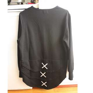 Long Sleeve Layered Top w Zippers (M)