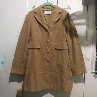 🚚 轉賣 婆婆二手衣 棕色收腰大衣外套