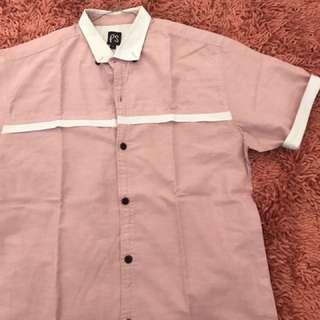 Soft pink white list shirt ( size L )