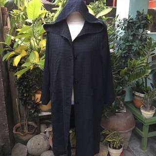 Black Hooded Cover Up/ Long Coat / Cardigan / Blazer