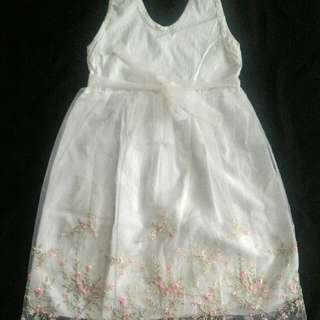 White Sleeveless Dress with Embroidery