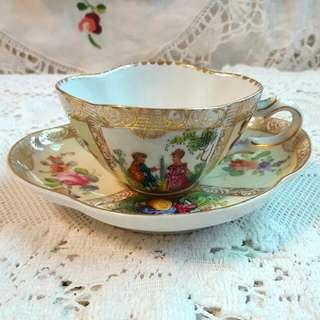 德國老件骨瓷半手繪濃縮咖啡杯盤二件組