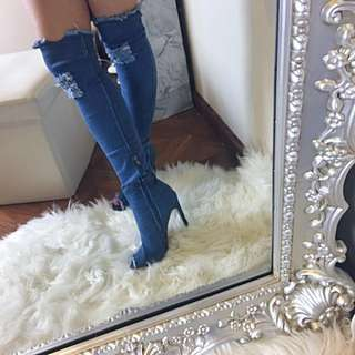 Dark blue thigh high ripped Distressed frayed boots size 37 6