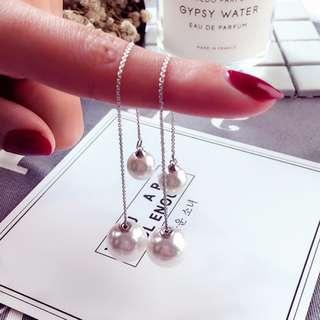韓 珍珠垂吊耳飾耳環