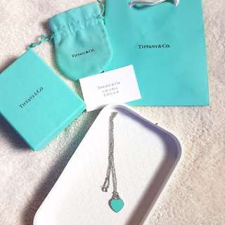 🚚 TIFFANY 愛心項鍊 藍色琺瑯款 真品出清