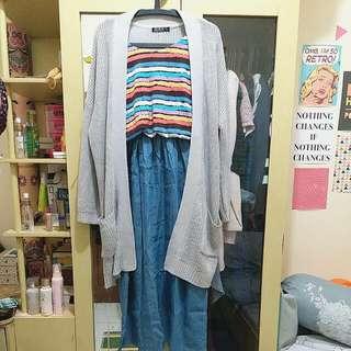 [REPRICE!!!] Colorful Summer Denim Maxi Dress