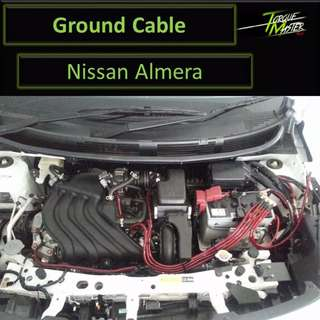 Nissan Almera . Ground Cable With Installation . Red . Blue . Purple .