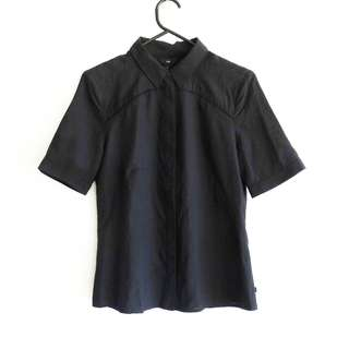Cue Size 8 Black Blouse with Collar Sleeves Cut Outs