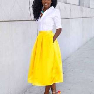 WTB yellow Midi Skirt