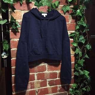 Navy blue crop hoodie