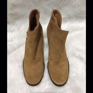 Zara Nude Suede Genuine Leather Ankle Boots