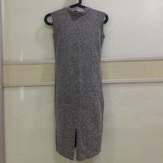 Knitted front slit dress