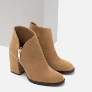 Details of Zara Suede Nude Ankle Boots