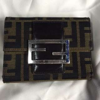 Authentic Fendi monogram tri fold wallet