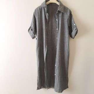 多種穿法間條連身裙 7分袖恤衫 外套 Jacket Shirt Dress