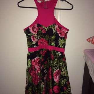 Pink Rose Halter Dress