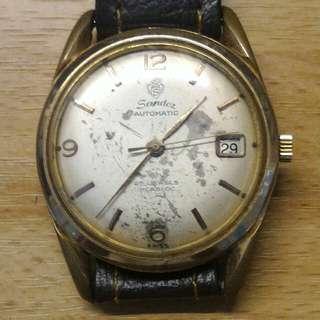 瑞士山度士男裝表,自動日曆(日曆不能轉動),25石鍍金表