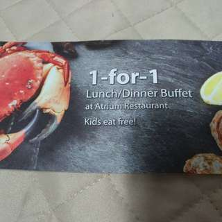 1 for 1 buffet voucher at Holiday Inn Atrium