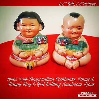 1960s Chinese Low-Temperature Porcelain Figures of Happy Baoy and Girl carrying Auspicious Lions. Good condition, no chip no crack. Both for $68 offer! Sms 96337309.