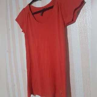 Nafnaf red vneck blouse size xs (stretchable)