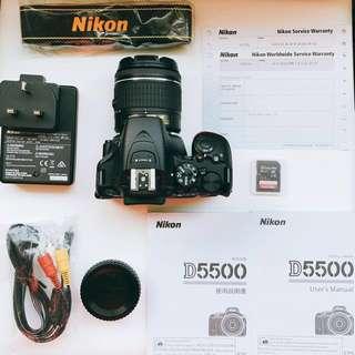🔥Nikon D5500 (相機 + 鏡頭 + SanDisk 64GB 記憶咭) 尼康 DSLR (Camera + Lens + 64GB Memory Card) 專業攝影器材 Touch Screen 觸屏 D Sony Canon Pentax Olympus 入門 單反 5500