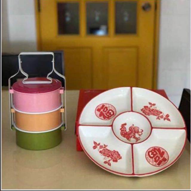 2 Pieces Ceramic Platter & Tingkat