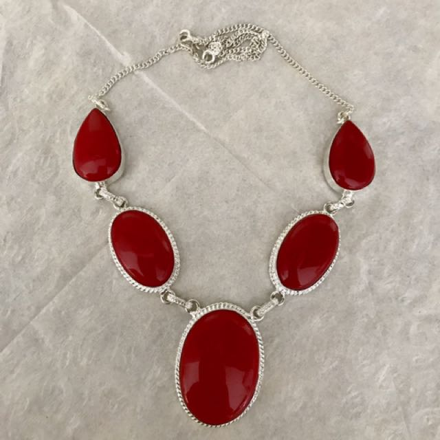 925 sterling silver red coral necklace new in packing
