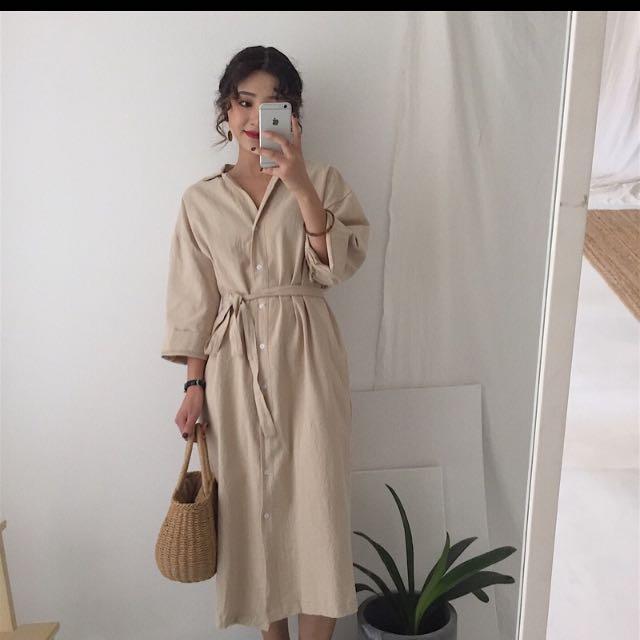 韓版復古長寬襯衫洋裝收腰