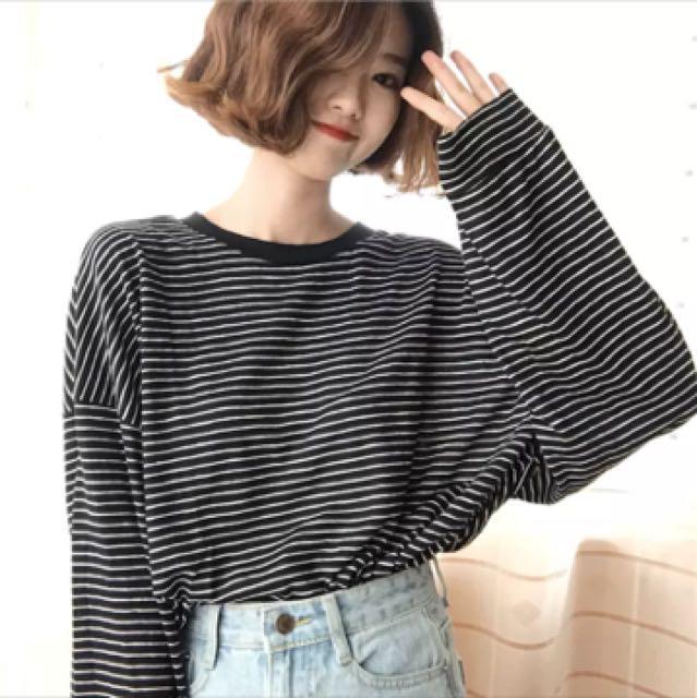 (全新)韓妞寬鬆條紋上衣