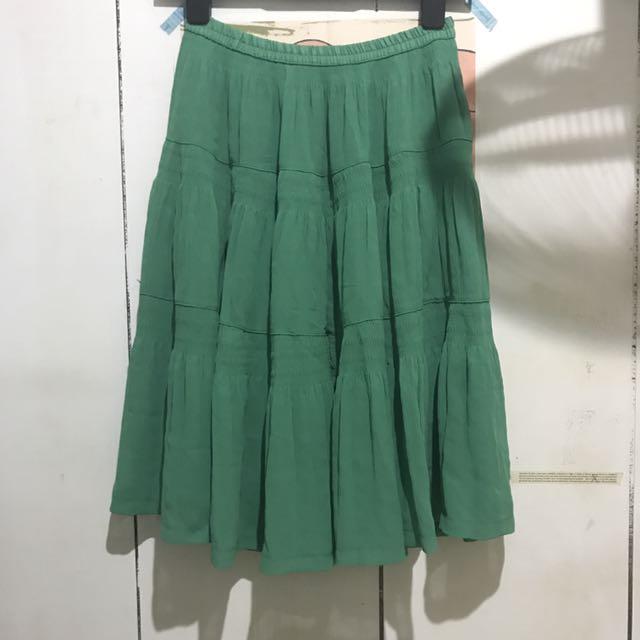 全新草綠色多層次鬆緊蛋糕裙