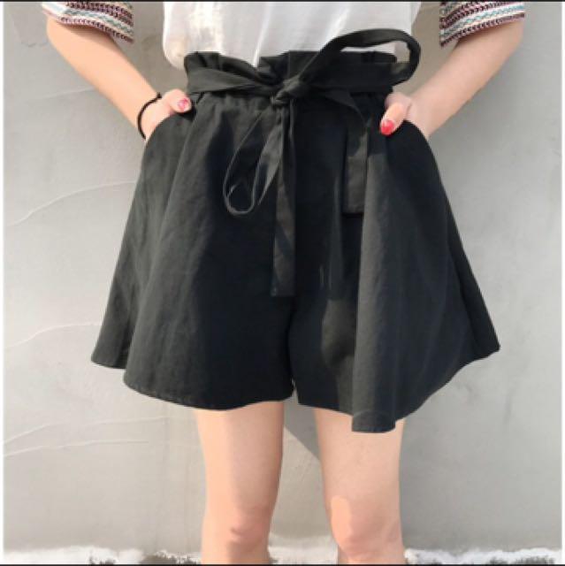 🎀全新黑色寬鬆綁帶褲裙