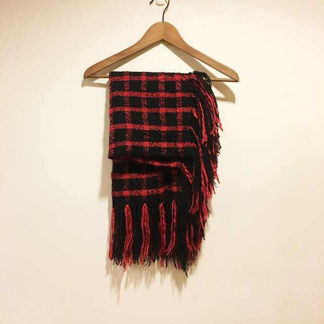 日本帶回 龐克搖滾紅黑十字編織圍巾