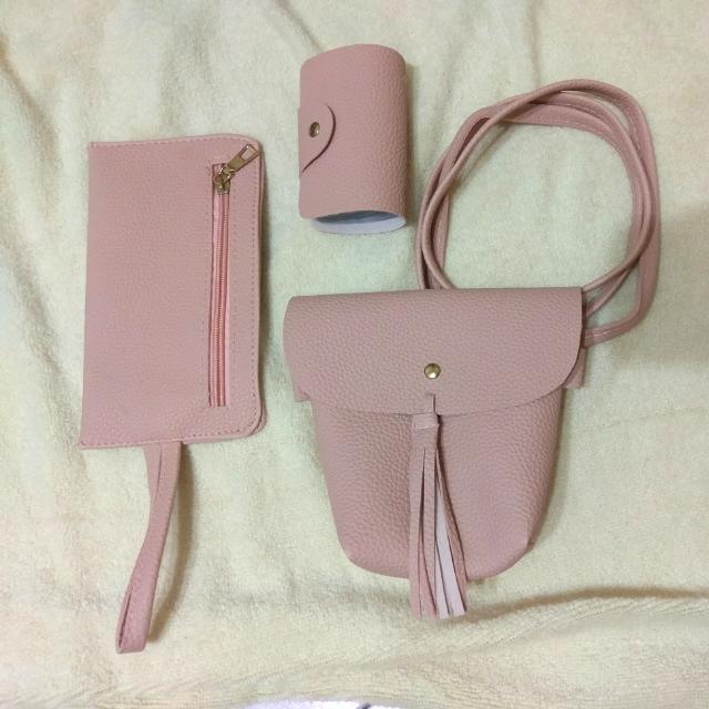 斜背包 側背包 3件組 手拿包 名片本