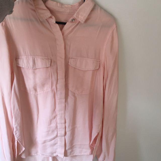 Baby pink linen shirt