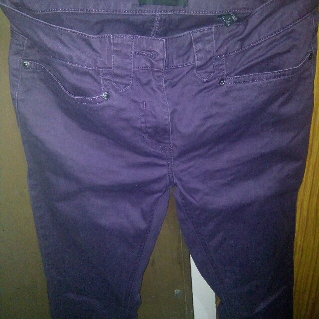Branded colored skinny pants.