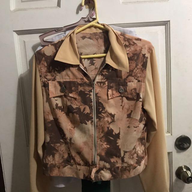 Brown Floral Jacket / Sweater / Longsleeves