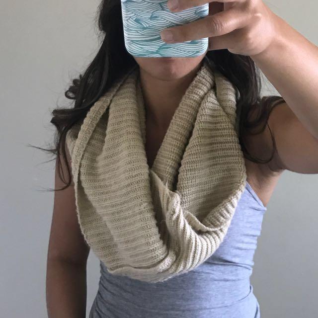 Cozy beige infinity scarf