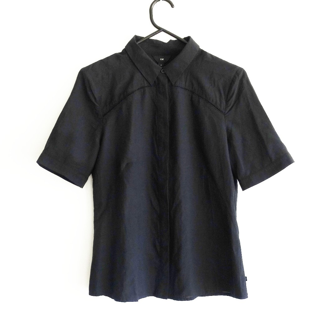 Cue Size 8 Black Blouse with Cut Outs